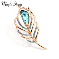 Wholesale Peacock Feather Pins - Wholesale- Magic Ikery Rose Gold Color Zircon Crystal Luxury Peacock Feather Brooches Wholesales Fashion Jewelry for women MKY5899