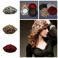 Moda Senhoras Coelho Fur Angora Leopard Beret Hat Mulheres Beanie Hat Cap Autumn and Winter Hats Female YYA459