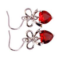 ohrring haken rot großhandel-Eardrop roter Granat baumeln Haken-Silber überzogene Baumelohrring-Art- und Weiseschmucksache-Frauen Wholesale freies Verschiffen