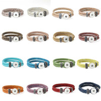 Wholesale Shell Buttons China - 20 Colors Leather Ginger Snap Bangles Bracelets,Diy 18mm 2 Strand Button Snap Jewelry For Women Men TZ706