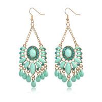 Wholesale Diamond Drop Earrings 14k - New Design Fashion Vintage Ethnic Acrylic Crystal Earring Bohemia Tassel Statement Dangle Drop Earrings Jewelry Gift For Women
