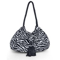Wholesale Zebra Strings - New Causal Comfortable Zebra Polyester Rope Open Pocket Women Large Capacity Shoulder Bag Lady Totes Shopping Bags