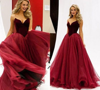 Wholesale Sweetheart Princess Prom Dresses - 2017 Burgundy Princess Strapless Long Prom Dress Arabic Style A Line Basque Waist Fiesta Evening Gowns Quinceanera Dresses