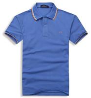 männer s kleid hemden verkauf großhandel-2018 Verkäufe Berühmte Geschäftsmänner schließt Hülse Polo-Hemden populäre Baumwollstickerei Weizen-Polos nach Maß Designer-Hemden her