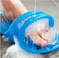 neue fußpantoffeln großhandel-Neue Heiße Kunststoff Badeschuh Bimsstein Fuß Wäscher Duschbürste Massagegerät Hausschuhe Blau 28x14x10 CM Hohe Qualität