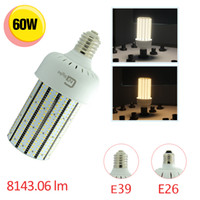 Vente en gros 12pcs / lot 60W 2835 SMD LED Corn Lights pour 250W halogène Lampe E39 Mogul Base 360 ​​Degree High Bay Light