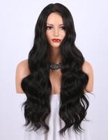 правые части парики оптовых-Синтетические парики для женщин-естественный вид длинные волнистые правая сторона расставания жаростойкие замена парик 24 дюйма