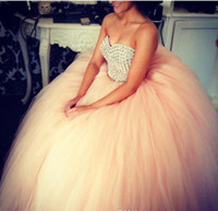 Wholesale Cheap Formal Dance Dresses - Ball Gowns Quinceanera Dresses For Sweet Sixteen Teenagers Young Girls Debutante Formal Dance Gowns Cheap Beaded Tulle Vestidos Prom Dresses