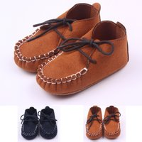 Wholesale baby boy moccasins shoes online - New Baby Moccasins Microsuede Lace up Baby Shoes First walker Toddler Baby boy Shoe Brown and Navy Colors