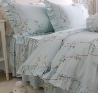 Wholesale 72 Deluxe - Deluxe Light blue Small seedlings printing pure cotton ruffles bedding sets 4pcs quilt cover pillowcase bed skirt style