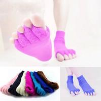 separador de pies al por mayor-Yoga masaje de cinco dedos separador calcetines manicura corrección mujeres calcetines alineación alivio del dolor calcetines del pie OOA3213