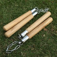 Wholesale Toys Metal Gears - Hot Tactical Gear Bruce Lee Kung Fu Nunchaku Martial Arts Equipments Real Wooden Nunchakus Metal Chain Nunchucks Toys Fitness Exercise