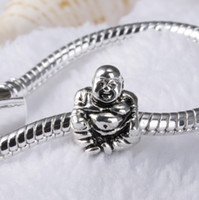 Wholesale Silver Buddha 925 - New ! 925 Sterling Silver European Charms Bead Cute Buddha Charm Compatible With Snake Chain Bracelet Fashion Female DIY Jewelry