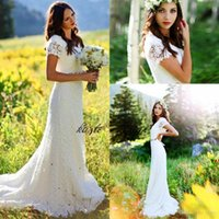 Wholesale Crochet Models - Vintage Crochet Lace Country Bohemian Wedding Dresses with Beaded Belt 2018 Cap Sleeve Full length Outdoor Garden Bridal Gowns