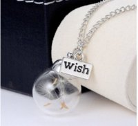 Wholesale Vial Diy - 2016 Hottest DIY Handmade Glass Bottle Vial Pendant Necklace Real Dandelion Engraved Wish Words Charms Necklace Lockets
