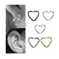 Wholesale Cartilage Earrings Endless Hoop - 12Piece 18G 2016 new Heart Shape Earring Nose Ring Tragus Piercing Labret Anodized Seamless Endless Tragus Cartilage Hoop Ring