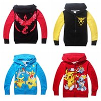 Wholesale Boys Zip Hoodies - Poke Baby Boys Girls Long Sleeve Clothes Coat for 3-10T Cotton Kids Outwear Animal Zip Front Jacket Hoodies Pikachu Sweatshirt Clothing