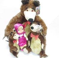 Wholesale Musical Baby Doll - Masha And Bear Toys Doll Russian Language Baby Plush Toy Musical Talk Russia Dolls Birthday Gifts For Children KKA3039
