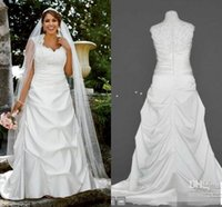 Wholesale Sweetheart Neckline Sleeves - Plus size A line wedding dresses 2016 White sweetheart neckline beads crystal ruffle A line floor length satin wedding gowns