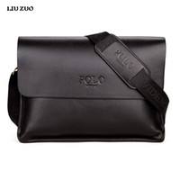 Wholesale Leather Mens Briefcase - Wholesale- In 2017 POLO Famous Brand Classic Design Leather Mens Messenger Bags Promotional Casual Business Man Bags Shoulder Bag Briefcase