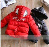 Wholesale Cartoons Letter Pad - Winter New Girls coat Cartoon letters hooded cotton-padded clothes coat Children Clothing 1-5T 319821