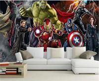 murais de fotos venda por atacado-Vingadores Foto papel de parede Personalizado 3D papel de parede para paredes Hulk Homem de ferro Capitão América Adesivo Meninos Quarto Sala de estar Restaurante Designer