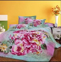 Wholesale King Size Coverlets For Beds - hot pink peony flower printed cotton comforter quilt bed covers for girls home decor full queen king size coverlet bedding sets