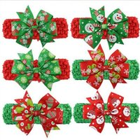 Wholesale Christmas Hair Bows For Babies - Free Shipping Wholesale 200pcs Ribbon Christmas Hair Bows With Soft Headband For Baby And Kids