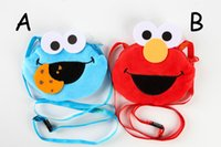 Wholesale Sesame Street Bags - 2 Color Sesame Street Plush Stuffed Animals Coin Purse Card package Hang rope cartoon For Children's bag Best Gifts 11x13cm Wholesale