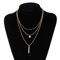 Wholesale 14k Gold Necklace Cheap - Fashion Cheap Sliver Gold Plated Pendants Necklace Chain multi layer statement necklaces Women Ladies Jewelry BKN043