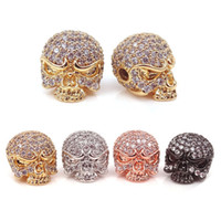 Wholesale Skull Findings - CZ Pave Skull Bead Finding Jewelry Component,black silver gold rose gold skeleton beads For Punk Jewelry Making Loose Metal Beads 10*13mm