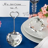 Wholesale Guest Seating - Heart ball crystal place card holder Wedding favor and gift for guests Wedding table name card holder seat clamp Wedding decoration