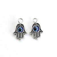 тибетский бисера ожерелье оптовых-10PCS Тибетский серебряный покрынный шарм руки шарма руки Hamsa злой голубой приспосабливает привесные браслеты ювелирных изделий ожерелья DIY 18X13MM