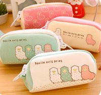 Wholesale Alpaca Bag - Wholesale-Creative Cute Alpaca Volume Students Pencil Case Large pouch bags Fresh Hot Girls Stationery Office Suppies