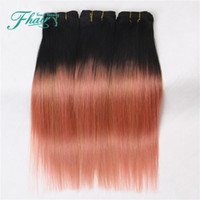Wholesale Human Hair Straight Gold - 8A Ombre Hair Extensions 1B Rose Gold Ombre Human Hair 3Pcs 100g Pcs Two Tone Straight Hair Weave Brazilian Hair