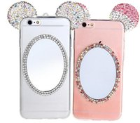 Cute 3D Mickey Ears Bling Bling Diamante Edged Phone Cases com espelho de volta TPU Soft Shell casos de telefone celular para Iphone6 ​​Iphone6plus