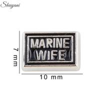 Wholesale Wholesale Marine Floating Charm - Marine Wife Floating Locket Charms for Living Memory Locket Necklaces Enamel Letter DIY Bracelet Silver Plated