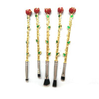 Wholesale Rose Flower Metal - 5pcs Makeup Brushes Set Multicolored Rose Flower Shape Make Up Foundation Cosmetic Powder Brushes Brush Makeup Wholesale 2805115