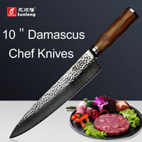 Wholesale Meat Cleavers - Sunlong 10 inch Chef Knives Damascus steel Slicing Knives VG10 steel core Pattern steel Cleaver Meat Vegetable Knives