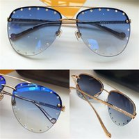 Wholesale diamond frame sunglasses - New fashion designer sunglasses frameless pilots frame with shiny diamond legs mosaic 72 luxury diamonds top quality with original box 0876