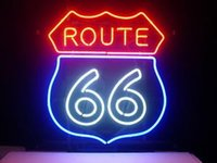 Wholesale Route 66 Neon - Brand New Larger Route 66 Real Glass Neon Sign Beer light