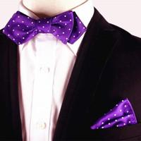 Wholesale Wholesale Silk Handkerchiefs Wholesalers - 100%Silk Jacquard Woven Men Cravat Self Bow Tie BowTie Pocket Square Handkerchief Suit Set Classic