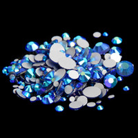 Sapphire AB ss3-ss10 Non Hotfix Glass Rhinestones Flatback Machine Cut Round Glue Em Strass Crystal And Stones DIY 3D Nail Art Decoration