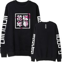 Wholesale Sweatshirt Chinese - HuaYangNianHua Real Picture BTS Fleece Hoodies 3 Colors Chinese Letter Printed Sweatshirts Size S-XL Black White Grey