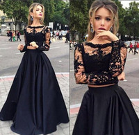 Wholesale Shirt Sexy Tulle - Two Piece Prom Dresses Black Lace Crop Top Illusion Long Sleeve Evening Dresses Factory Custom Made