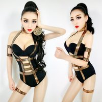 Wholesale women led costumes online - Retro Hollow Rhombus Metal Jumpsuits Women Stage Wear Bar Nightclub DS DJ Female Singer Modern Dance Lead Dancer Costume