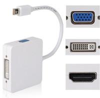 ingrosso mini computer di pollice-CUBE Universal 3 in 1 Mini DP Displayport Thunderbolt MDP Maschio a HDMI DVI VGA Adattatore femmina per MacBook Pro Retina MINI 11 13 15 POLLICI