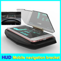 Wholesale images phone online – custom Car GPS HUD Head Up Display Universal Holder For iPhone Samsung Mobile Phone Car Navigation Image Reflector Mount Bracket with non slip mat