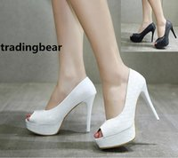 Ladies High Heels Pompes White Black Woven Knited Peep Toe Platform Chaussures Wedding Prom Party taille 35 à 39