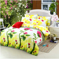 Wholesale Sunflower Print Duvet - Fresh Butterfly Sunflower Reactive Printed King Size Duvet Cover Bed Sheet Pillowcase Set, 4 Pcs Family Bedding Sets Home Textile